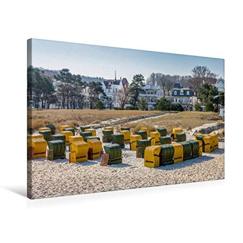 CALVENDO Premium Textil-Leinwand 75 x 50 cm Quer-Format Bunte Strandkörbe in Binz auf Rügen, Leinwanddruck von Christian Müringer