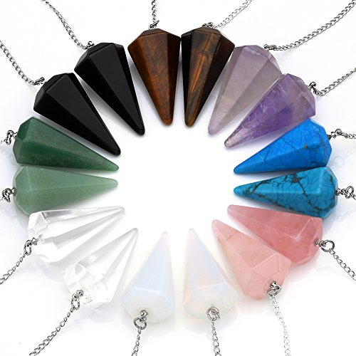 JS Direct - Collares de piedras sanadoras reiki naturales: amatista, c