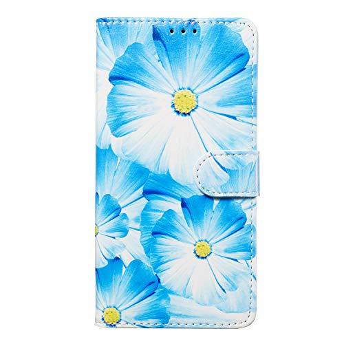 Miagon für iPhone 6S/6 Marmor Flip Hülle,PU Leder Klapphülle Bookstyle Brieftasche Wallet Ständer Case Cover,Blau Blume