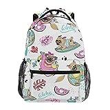 Mochilas escolares para niñas niños hoja sandía perro carlino flamenco personalizado bolsa de libros senderismo camping mochila