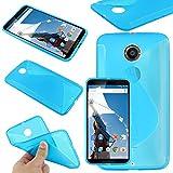 ebestStar - Funda Compatible con Motorola Nexus 6, Nexus X Carcasa Gel Silicona Gel TPU Motivo S-línea, S-Line Case Cover, Azul [Aparato: 82.98 x 159.26 x10.06mm, 5.96'']