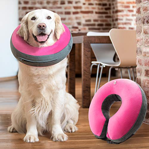 GoodBoy Comfortable Recovery E-Collar for Dogs and Cats – Soft Inflatable Donut Collar Designed...
