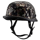 Bruce Dillon Leder Retro Helm Style Schwarz Motorrad Integralhelm HeadBiker Pilot Camouflage 3...