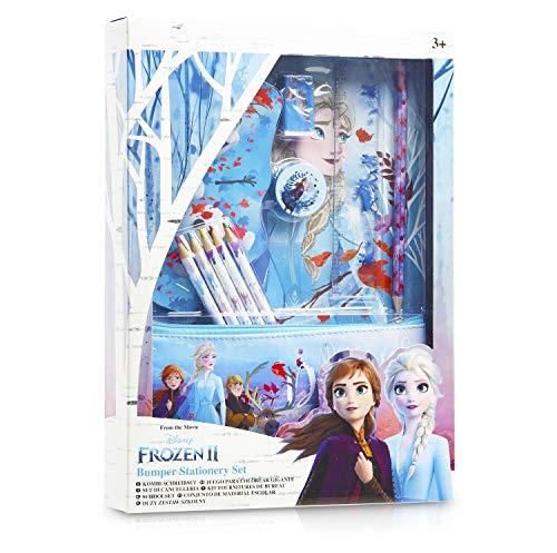 Disney Frozen 2 Set Scuola Cancelleria per Bambina con Anna ed Elsa Il Regno di Ghiaccio - Kit di Cancelleria Completo 12 Accessori Scuola con Quaderno Matite Astuccio - Regali Frozen Bambina