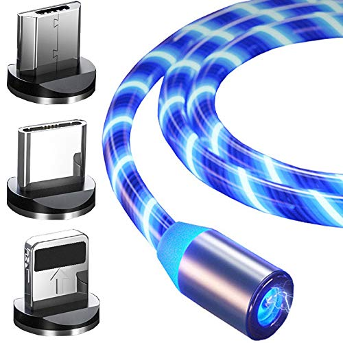 Top-Longer Magnetisches Ladekabel mit Sichtbar Fließendem LED Licht Micro USB Ladekabel Type C Schnelle Aufladung 3 in 1 USB Kabel Blau -1m / 2 Sets(Blau)