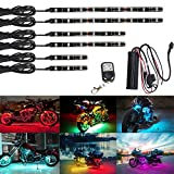 motorcycle led light kit - NBWDY 6Pcs Led Light Kits Multi-Color Wireless Remote Control Motorcycle Atmosphere Lamp RGB Flexible Strips Ground Effect Light for Motorcycle
