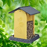 North States Village Collection Hopper Style Yellow Pinecone Birdfeeder:. Squirrel Proof Hanging Cable included. Large, 4.25 pound Seed Capacity (8.13 x 8.13 x 11, Yellow)