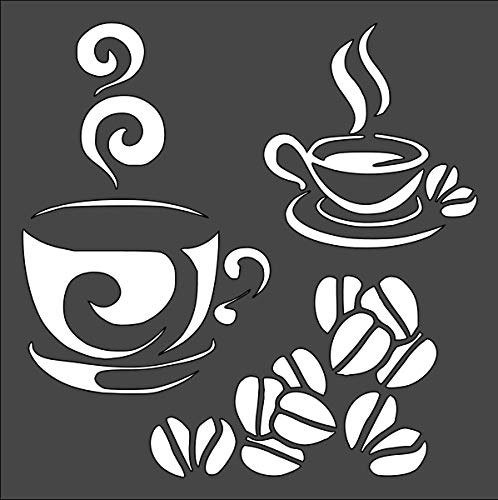 Coffee Logo Stencil Reusable Sturdy Flexible Clear Plastic 1-5.5x5.5 in Arts and Crafts Material Scrapbooking for Airbrush Painting Drawing