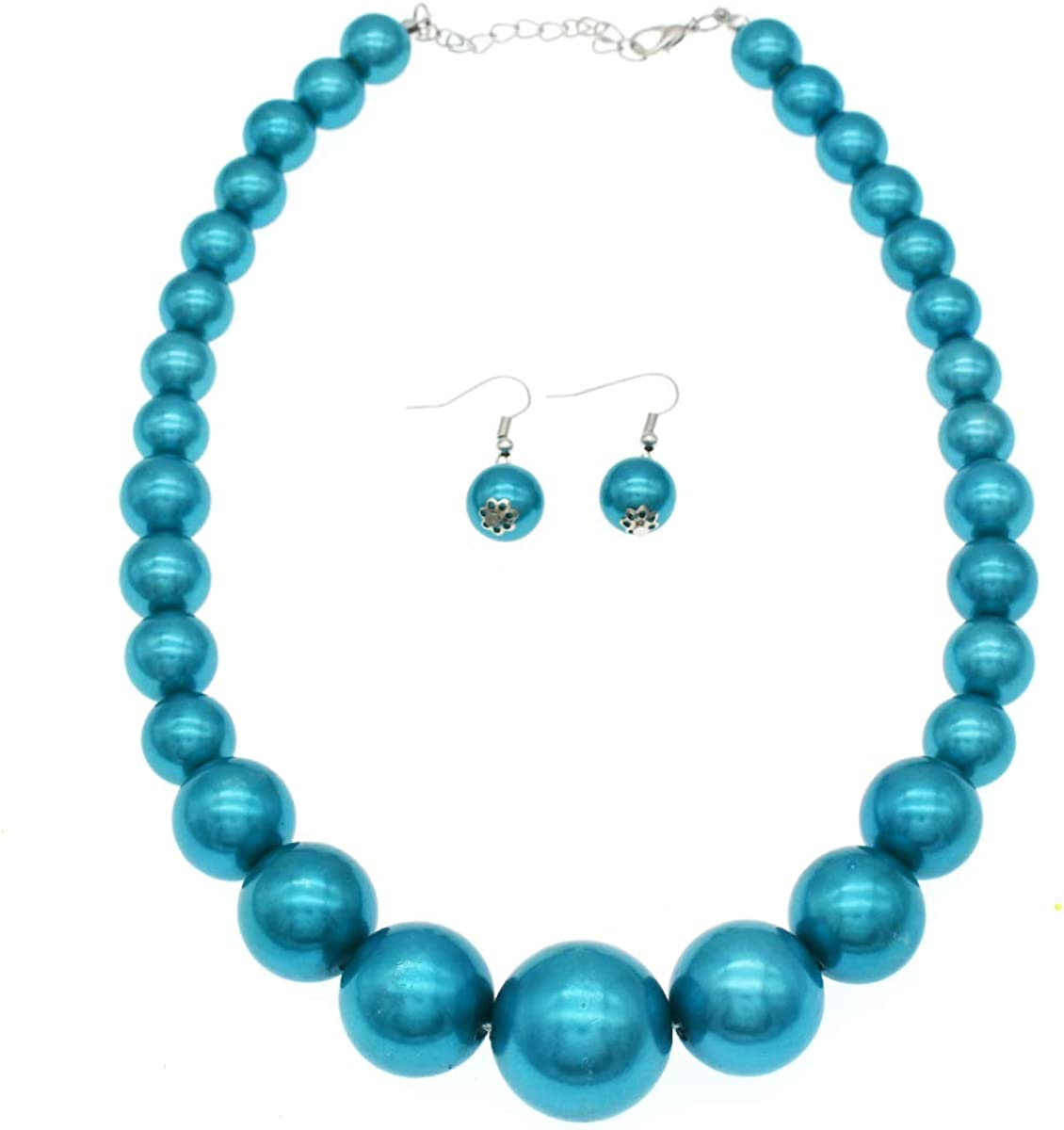 Faux Big Pearl Necklace for Women Chunky Pear Necklace and Earring Set Pearl Statement Necklaces Costume Jewelry for Party