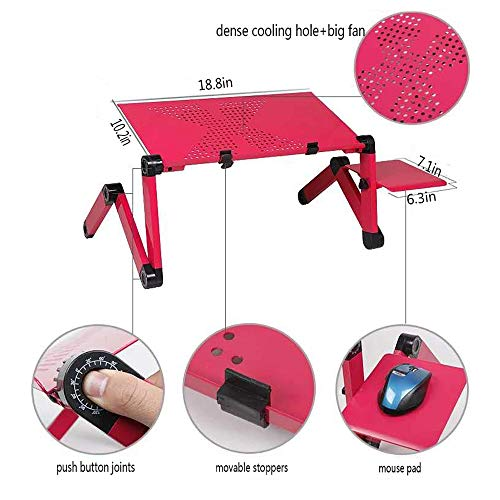 Laptop Desk for Bed and Couch, Portable Adjustable Laptop Stand with Big CPU Cooling Fan and Mouse Pad, Ergonomics Aluminum TV Bed Lap Tray up to 17in, Rose Red Photo #8