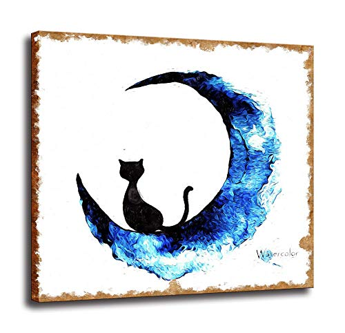 CNUSER Canvas Print,Black Cat Blue Moon Paintings Picture on Canvas Modern Wall Art for