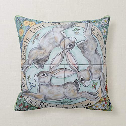 Yilooom Funda de cojín de 45,7 x 45,7 cm, funda de almohada para sofá, oficina, decoración de conejo, liebre trío, cuatro estaciones, floral, verde