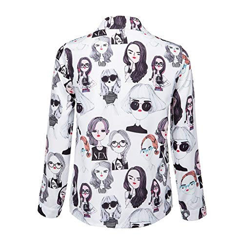Find Discount Gleamfut Womens Shirt Cartoon Lady Pattern Long Sleeve Turndown Button Down Tops Blous...