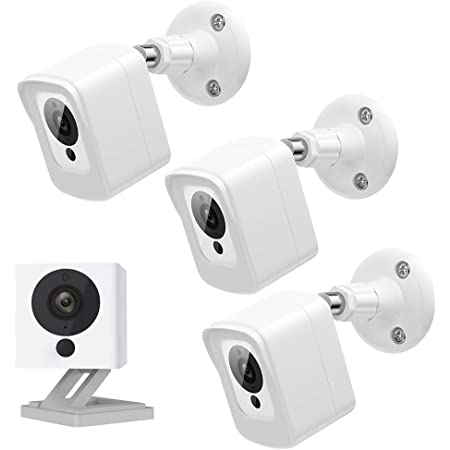 SEEKONE V1 V2 Protective Case for Wyze Cam , 360° Protection Waterproof Acrylic Material No IR Glare Cover with Adjustable Wall Mount for Indoor and Outdoor Use (White 3Pack)