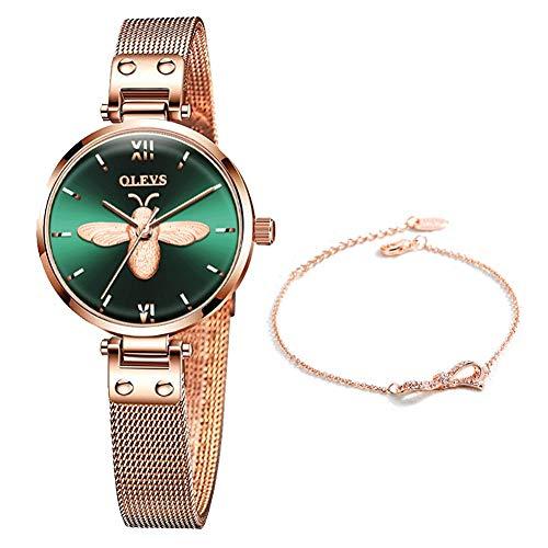 OLEVS Armbanduhr Damen Lässige Mode wasserdichte Rosegold Edelstahlband Quarz Uhren Geschenke für Frauen