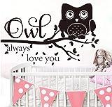 Pegatina de pared grande con diseño de búho Always Love You Star Branch para bebé, guardería, niños, dibujos animados, búho, zoológico, animal, cita de amor, 83 x 57 cm
