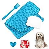 Yosemy Silikon Backmatte Hundekekse Herz,1.5cm Hundeleckerli Backform Silikonmatte mit Backpinsel und Teigschaber Set zur Herstellung für Silikonbackmatte Backformen