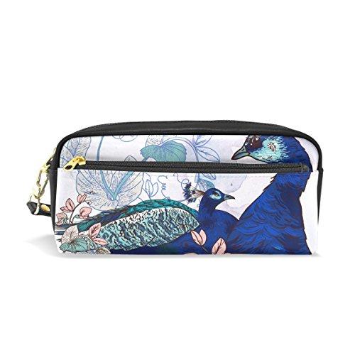 COOSUN Paons Bleu sur Fond Floral école Portable Case PU Cuir Crayon Pen Sacs Grand Stationary Housse Capacité Sac de Maquillage cosmétiques Grand Multicolore