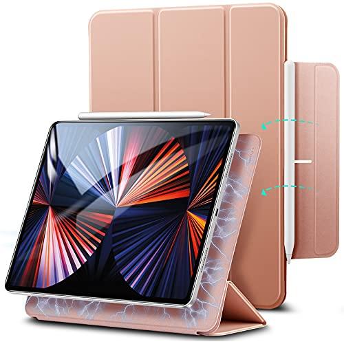 """ESR Hülle kompatibel mit iPad Pro 12.9"""" 2020, praktischer Magnetverschluss [Unterstützt Apple Pencil Koppeln und Laden] Trifold Standhülle, Smart Hülle, Auto Schlaf-/Weckfunktion - Roségold"""