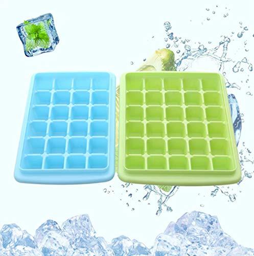 Sunrise-EU Kreative Eiswürfel-Kombination, Eiswürfelbox mit Deckel, Gemüseschublade, komplett geschlossen, mit Eisschaufel, Rosa, 55 grilles