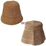 GUMEI Cappello Estivo da Donna con Secchiello di Paglia all'Uncinetto Cappello da Pescatore Pieghevole con Protezione Solare