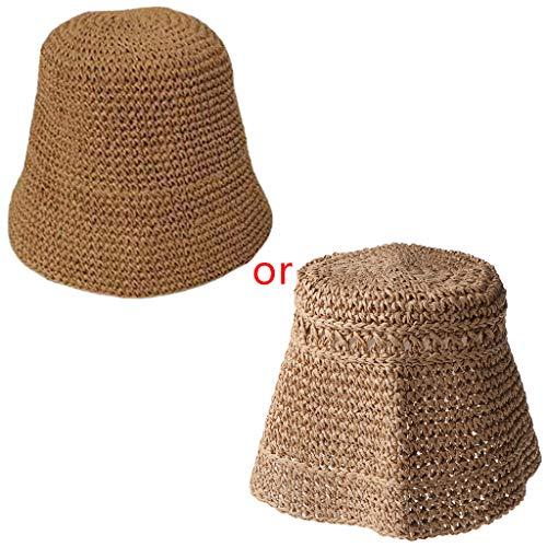 GUMEI Mujer Verano Crochet Paja Sombrero de Cubo Protección Solar Cúpula Gorra de Pescador Plegable