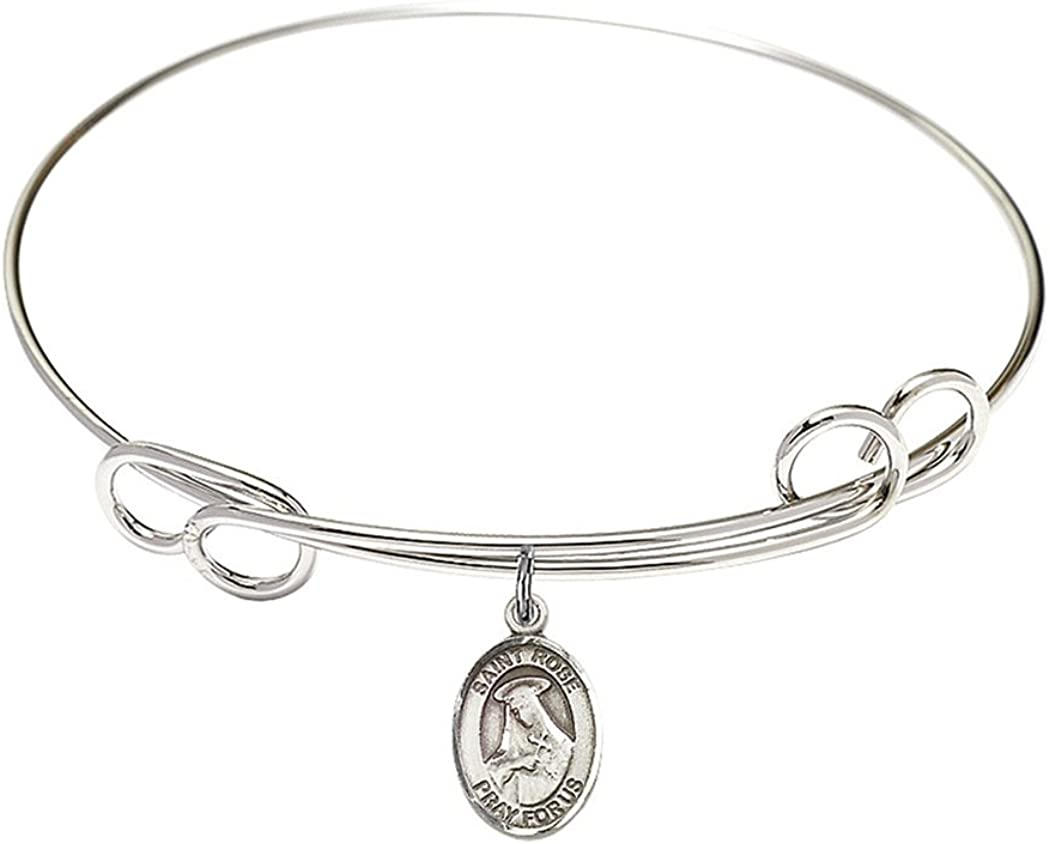 Limited price Rhodium Plate Double Loop Bangle S Catholic Bracelet Max 65% OFF Patron with