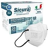 20 Mascherine FFP2 Certificate CE Made in Italy Bianche con Elastici Neri e logo SICURA impresso BFE ≥99% Mascherina ffp2 italiana SANIFICATA e sigillata. Pluri certificata ISO 13485 e ISO 9001