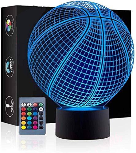 Lámpara de luna 3D y luz nocturna para niños y adultos Baloncesto luz nocturna multicolor regalo de vacaciones