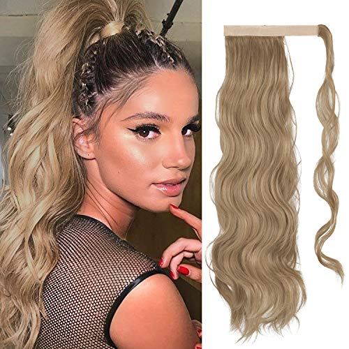 FESHFEN 60 cm Lang Gewickelt Pferdeschwanz Extensions Lockig Clip in Ponytail Wavy Curly Synthetik Haare Extensions Haarverlängerung Zopf Haarteil Ponytail für Frauen