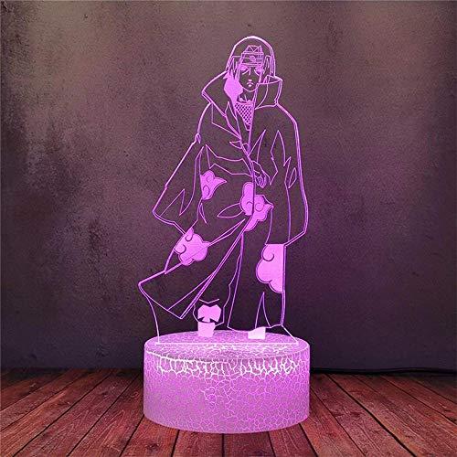 Iluminación 3D para niños luz nocturna 16 colores Naruto Uchiha Sasuke regalos perfectos para niños y decoración de habitación Darth Vader personajes