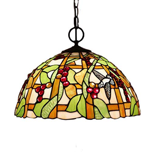 Kroonluchter 16 inch hanglamp, Tiffany gekleurd glas hanglamp met online-schakelaar, Europese retro voor barcafé-restaurant, E27, 110V-240V 3.25