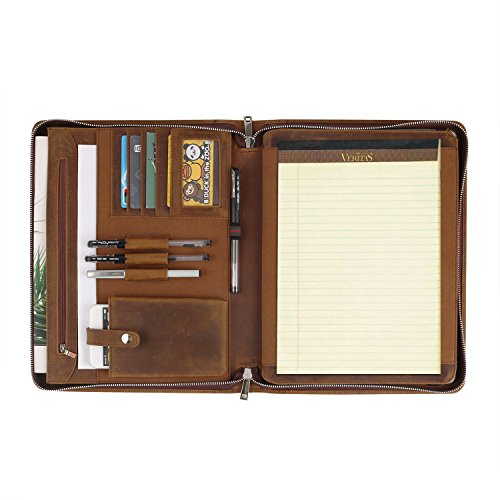 Handmade Crazy-Horse Leather Portfolio Vintage Padfolio Case, Zippered Professional Organizer for Men & Women for 12.9 inch iPad Pro, with Letter Size Notepad(12.9 inch ipad pro(2017 Ver.))