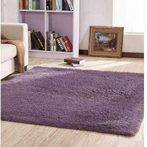 GQDP 2019 Gewaschene Seide Haar rutschfeste Teppich Wohnzimmer Couchtisch Schlafzimmer Nacht Yoga-Matte dicken Teppich grau lila 140 * 200cm