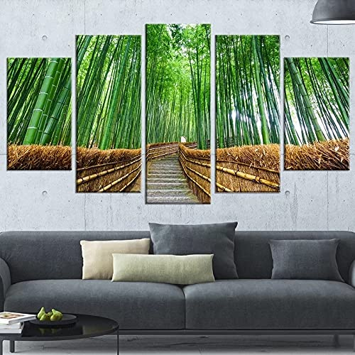 GUANGWEI Impresión En Lienzo Póster HD 5 Combinación De Pintura Colgante Camino, Bosque De Bambú, Bosque Marco De Dibujo Decorativo del Paisaje del Regalo del Arte De La Pared del Hogar