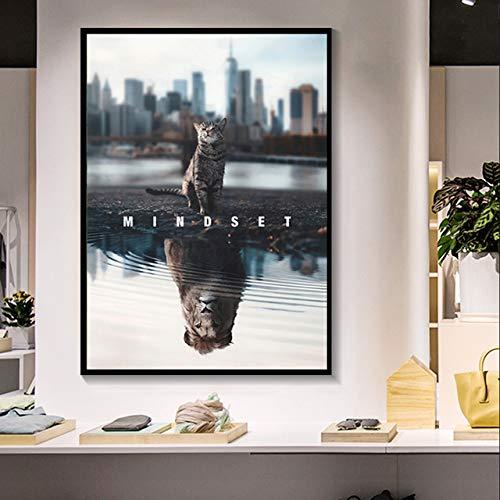 N / A Mode Moderne Kunst Leinwand drucken Kunst Kunstwerk Katze und Tiger Bild Malerei Leinwand Home Decoration Rahmenlos 60x90cm