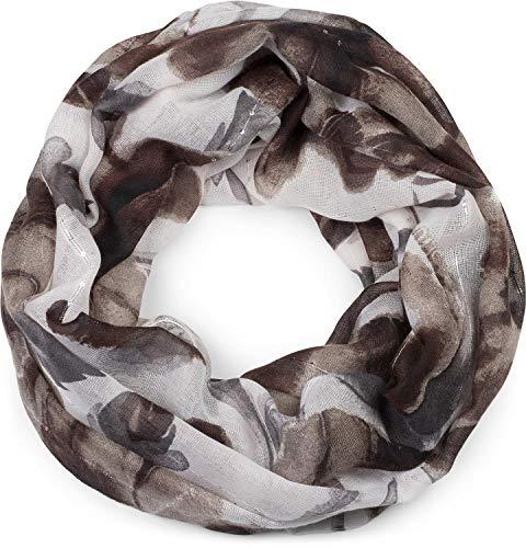 styleBREAKER Damen Loop Schal mit abstraktem Blumen Muster und Pailletten, Schlauchschal, Tuch 01016187, Farbe:Dunkelbraun-Grau