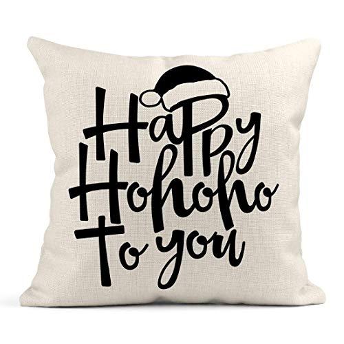 Kinhevao Cojín Happy Ho to You Frase para Navidad Letras Navidad Saludos...