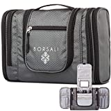 Hanging Toiletry Bag for Women & Men - Makeup & Toiletries Travel Organizer- Medium Bag - Compact Yet Roomy -Travel & Camp Confidently w/Mirror - Large Back Pocket - Easy Access Compartments