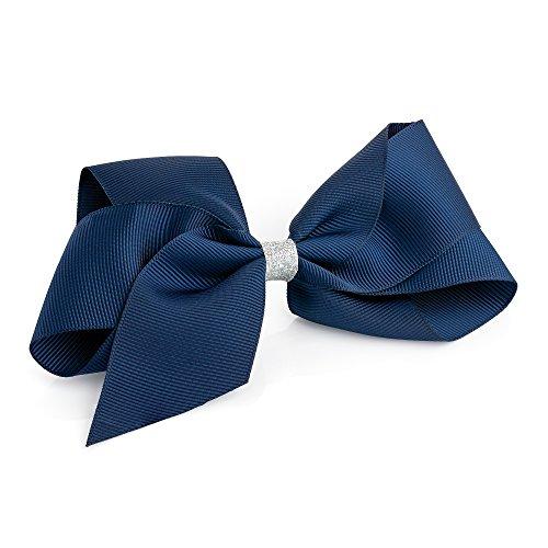 Grande Marine Paillettes Centre ruban style Nœud Cheveux Pince bec Slide