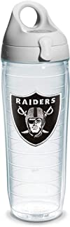 Tervis NFL Oakland Raiders Emblem Individual Water Bottle with Gray Lid, 24 oz, Clear -