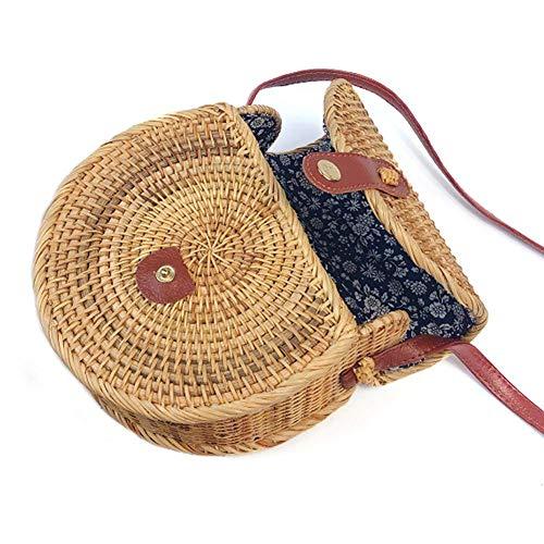 Bolso bandolera de mimbre para mujeres, bolso de paja tejido a mano Bolsa de playa para mujeres con cierre de cuero