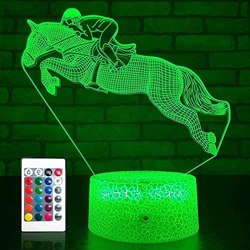 3D caballo noche luz USB interruptor táctil decoración mesa escritorio ilusión óptica lámparas 7 colores cambiantes lámpara de mesa LED Navidad hogar amor niños decoración regalo juguete