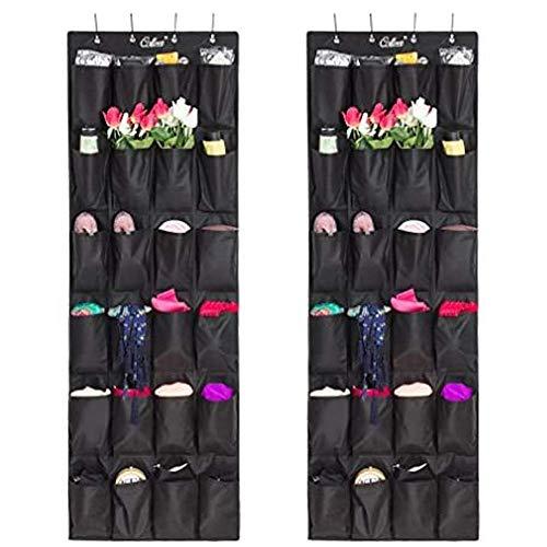 None - Organizador de zapatos sobre la puerta (24 bolsillos), organizador colgante para armario y ahorro de espacio, tela Oxford gruesa, ganchos para colgar resistentes, estante de pared flexible, soporte para hombres y mujeres, 2 unidades, color blanco, negro