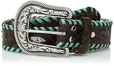 Nocona Belt Co. Women's Turquoise Whip Chevron Concho Belt, brown, Extra Large
