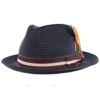 Men s Stripe Band Removable Feather Derby Fedora Curled Brim Hat L/XL Navy