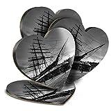 Destination Vinyl ltd Great Posavasos (juego de 4) corazón – BW – Cutty Sark barco vela bebida, posavasos brillantes/protección de mesa para cualquier tipo de mesa #39029