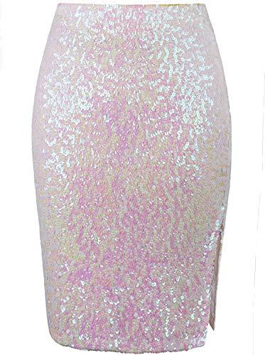 VIJIV Women's Knee Length Sequin Pencil Skirts High Waist Elegant Stretchy Sparkle Party Skirts Cocktail Wedding White X-Large
