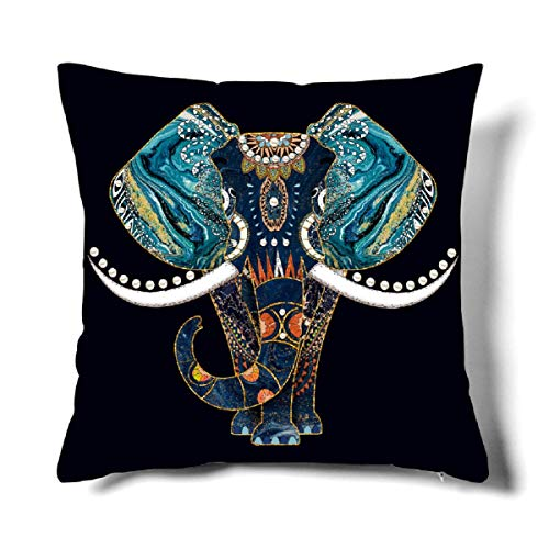 Happy Memories Decor Throw Pillow Cushion Cover, Classic Cashew Floral,Double Leopard Pattern,Floral Inspired Design Decorative Square Accent Pillow Case 1PCS (Blue Elephant)