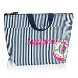 Thirty One Thermal Tote in Navy Pinstripe with Anchor - No Monogram - 3000